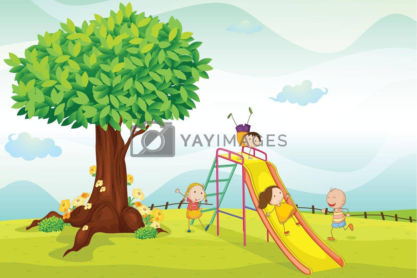 illustration of kids playing in the nature