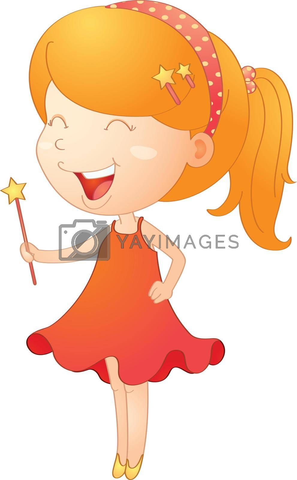 illustration of a girl with magic stick on a white