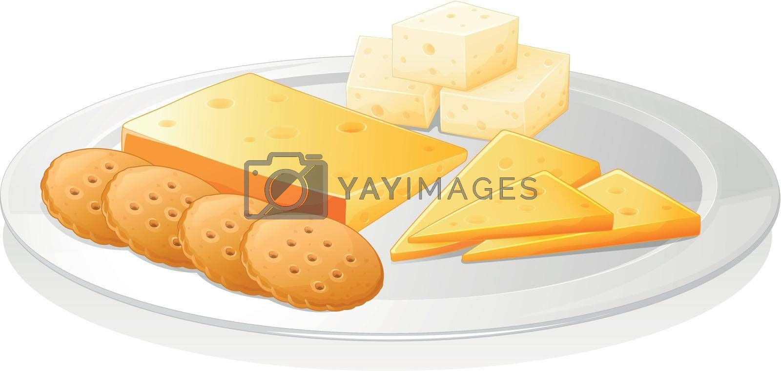 illustration of a biscuits and cheese on a white background