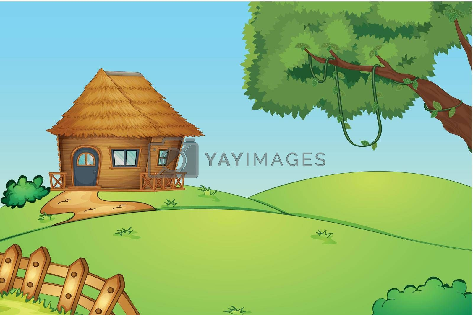 Illustration of a house on a hill