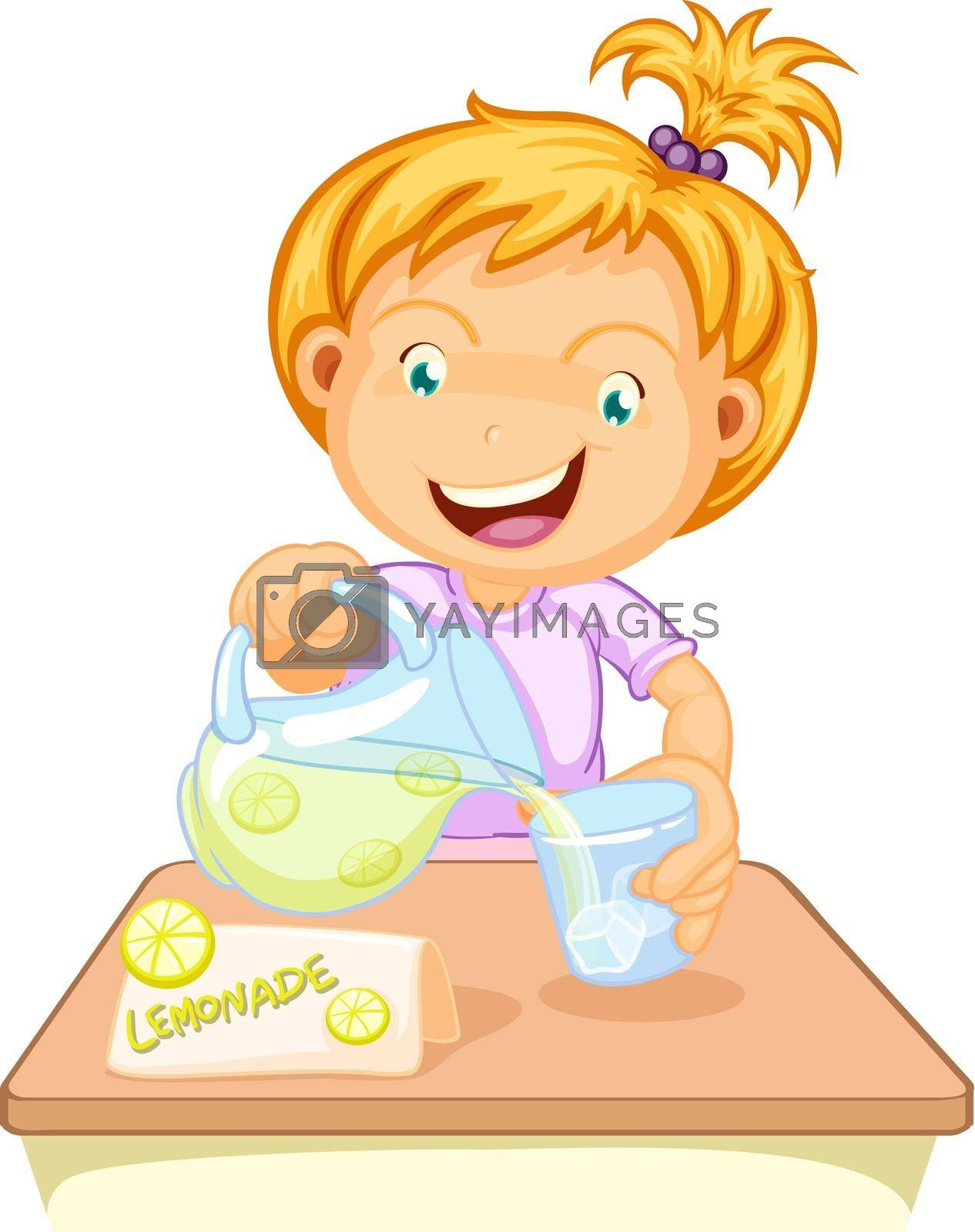 illustration of a girl drinking juice on a white
