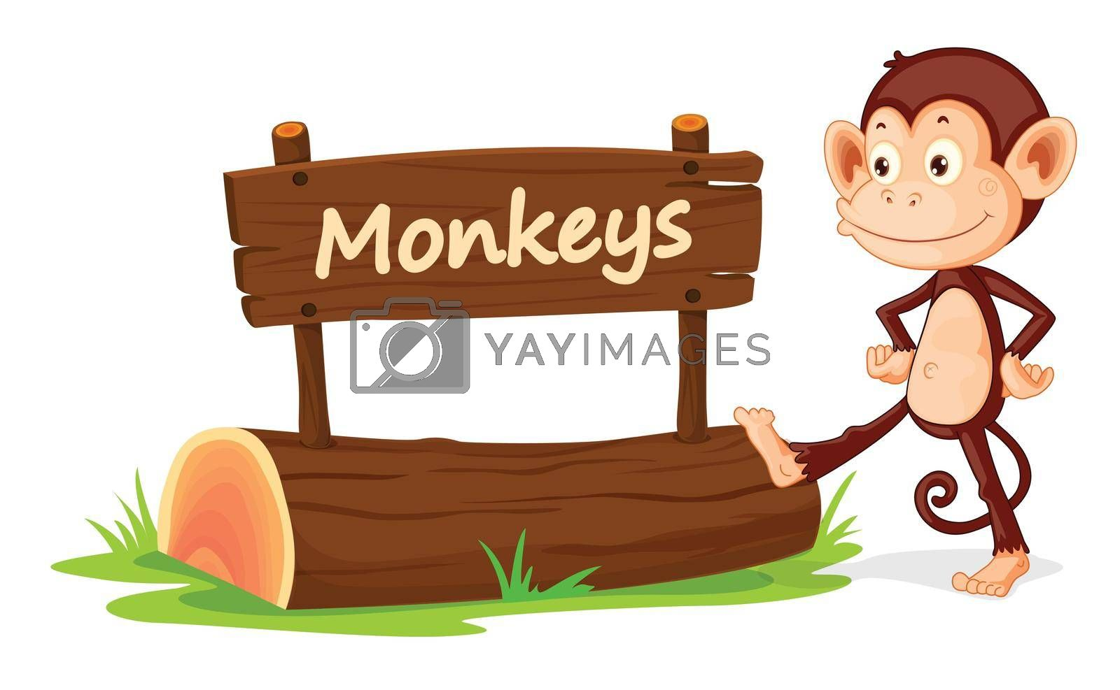 illustration of monkey and name plate on a white