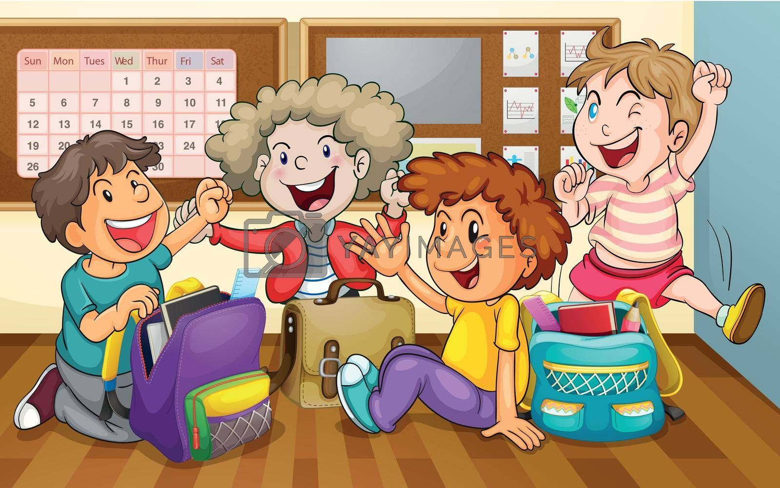 illustration of a happy kids in classroom