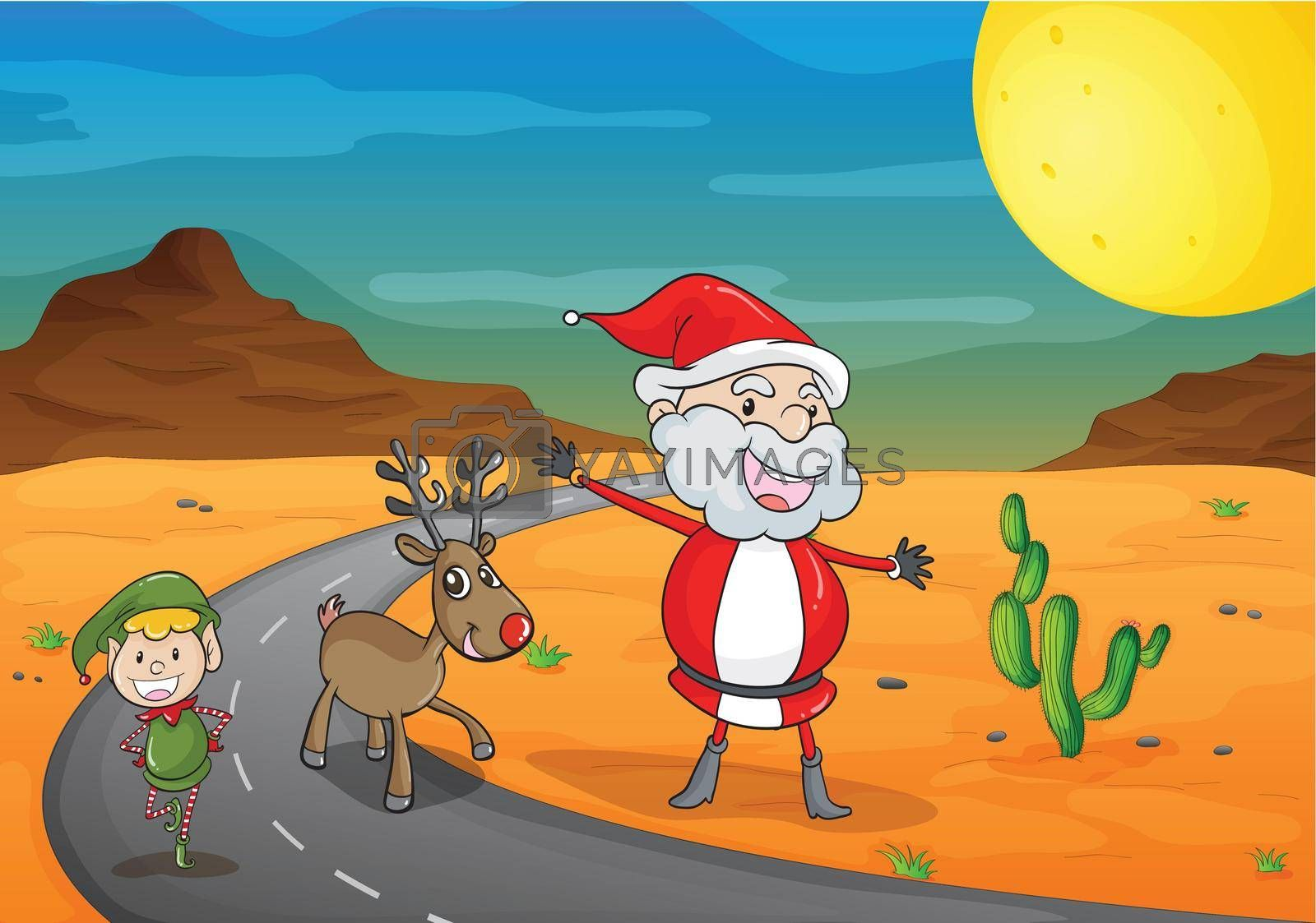 illustration of a  boy, a santa claus and a reindeer in a beautiful dessert