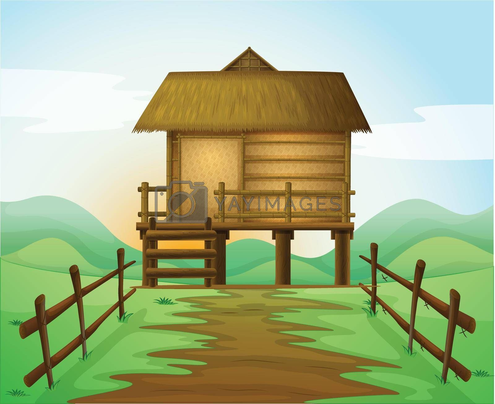 illustration of a hut in a beautiful nature