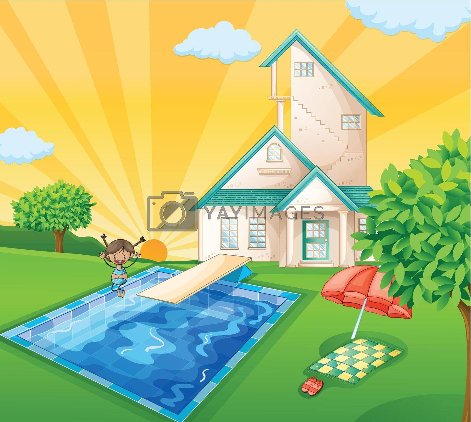 illustration of a house and a girl in a beautiful nature