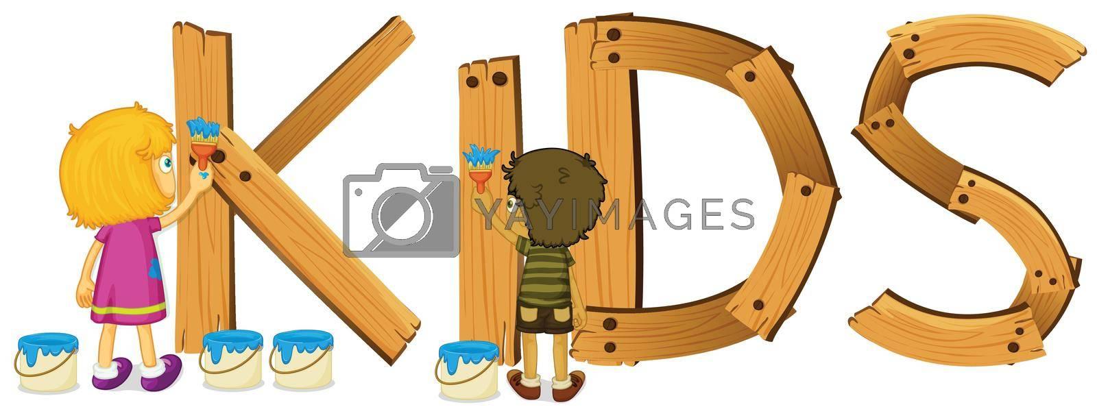 Illustration of a wooden kids sign
