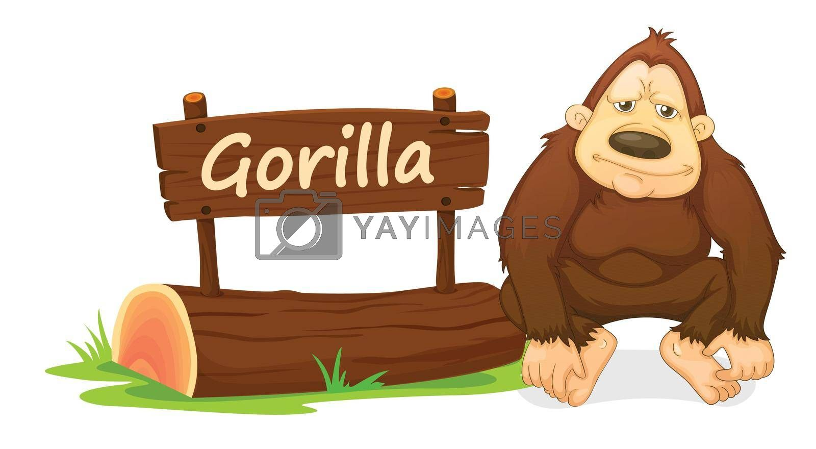 illustration of gorilla and name plate on a white