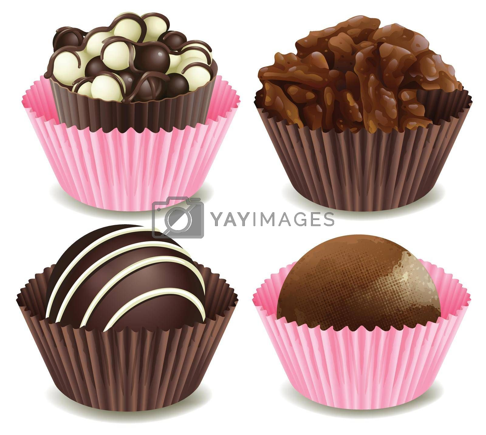 illustration of chocolates in a pink and brown cup on a white background