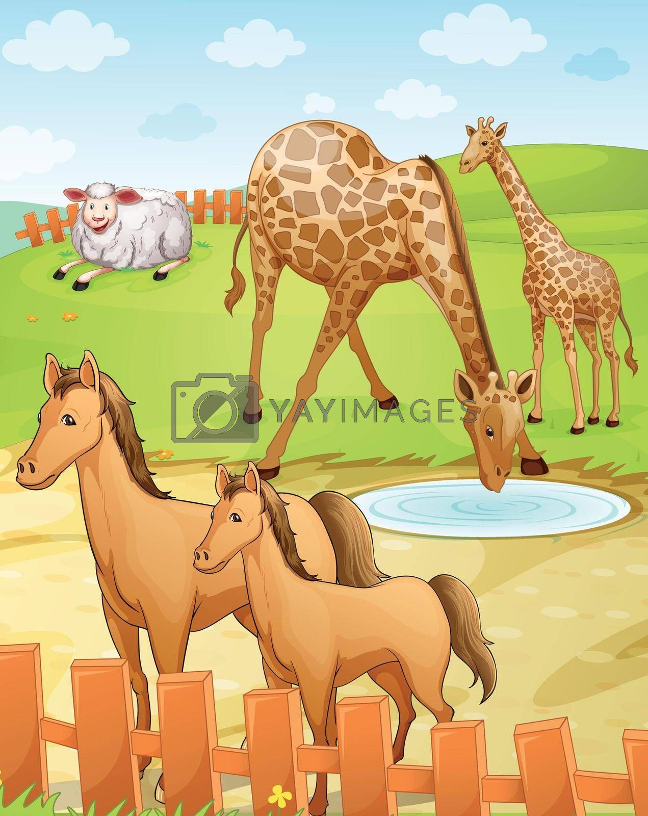 illustration of group of various animals in nature