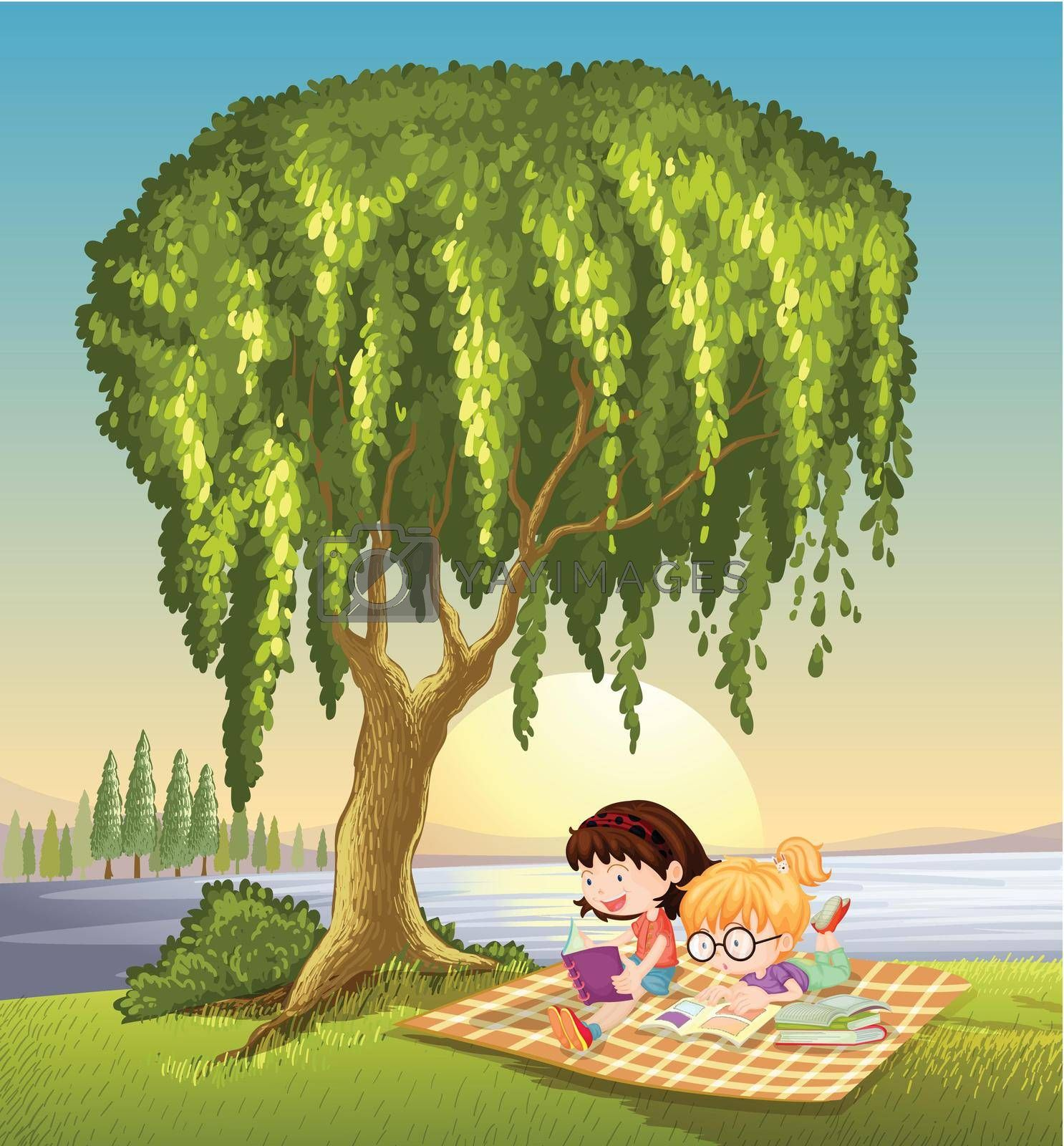 illustration of girls and tree in a beautiful nature