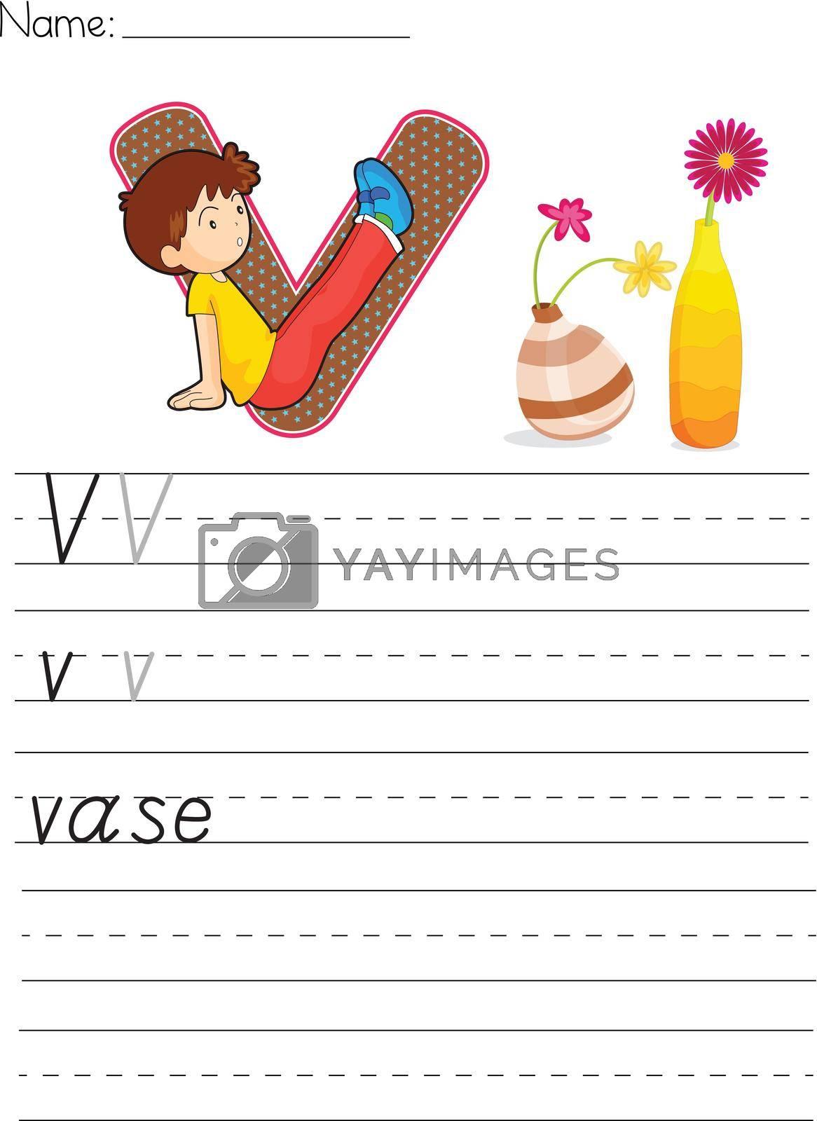 Alphabet worksheet of the letter V