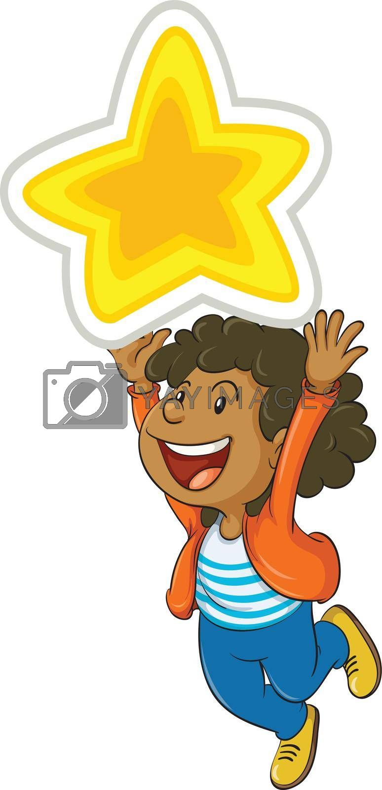 illustration of a girl holding a big star
