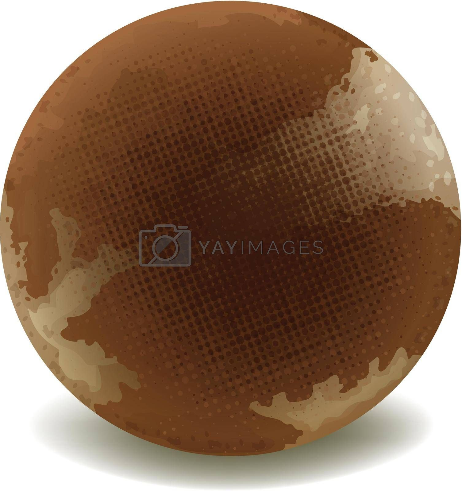 illustration of a round chocolate on a white background