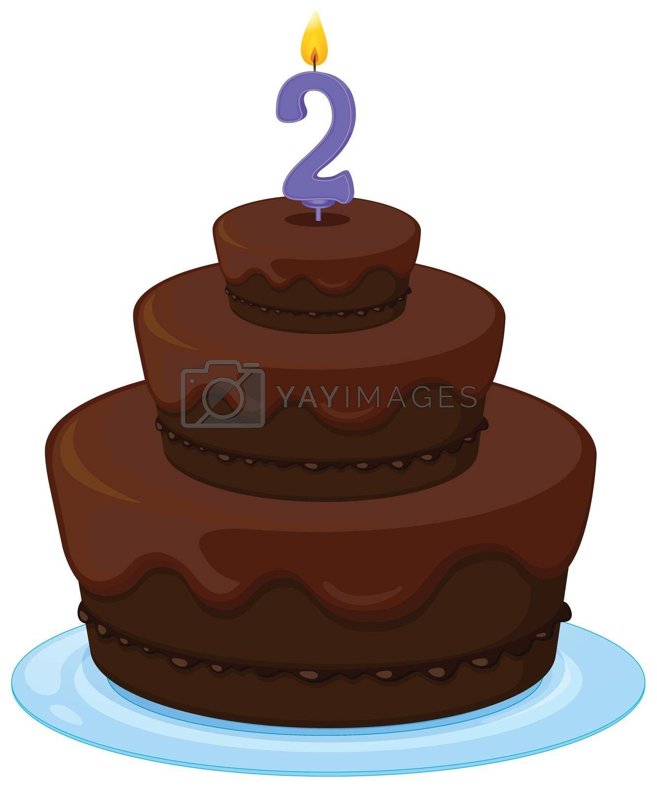 illustration of a brown birthday cake on a white background