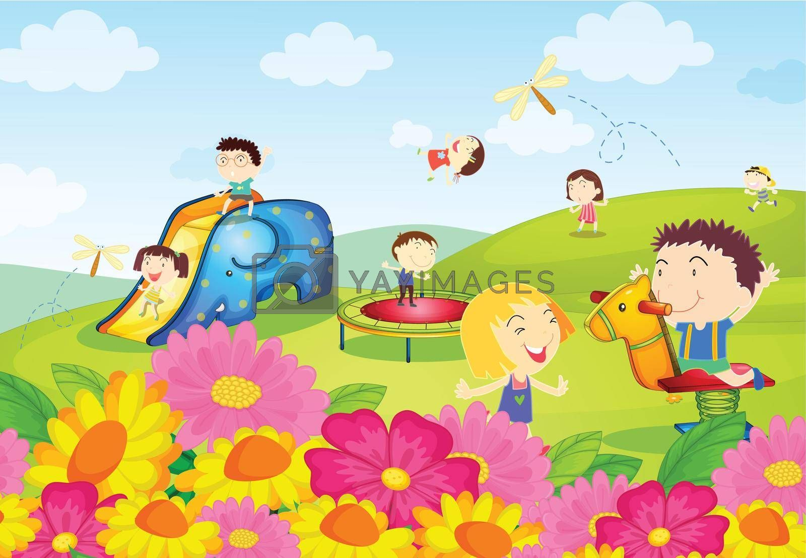 Illustration of kids playing at the park