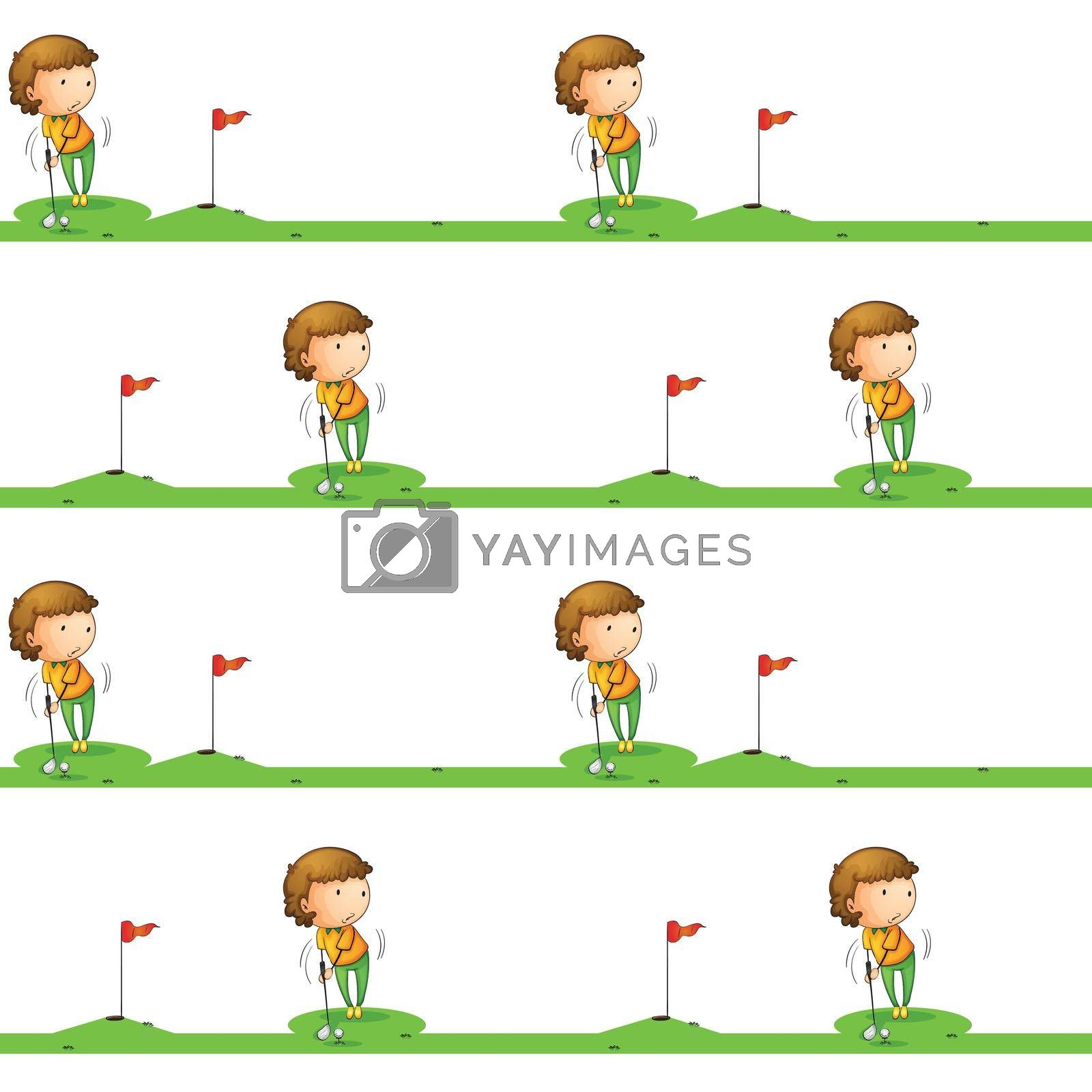 illustration of a boy playing golf on a white background