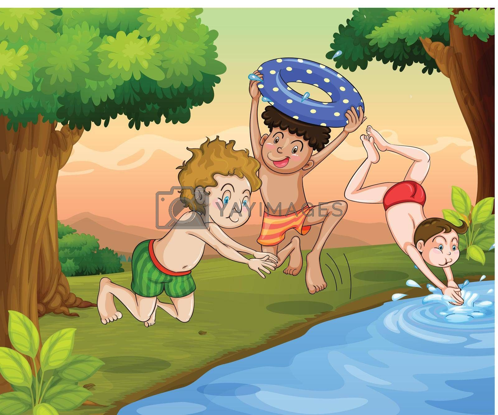 illustration of kids swimming outdoor in jungle