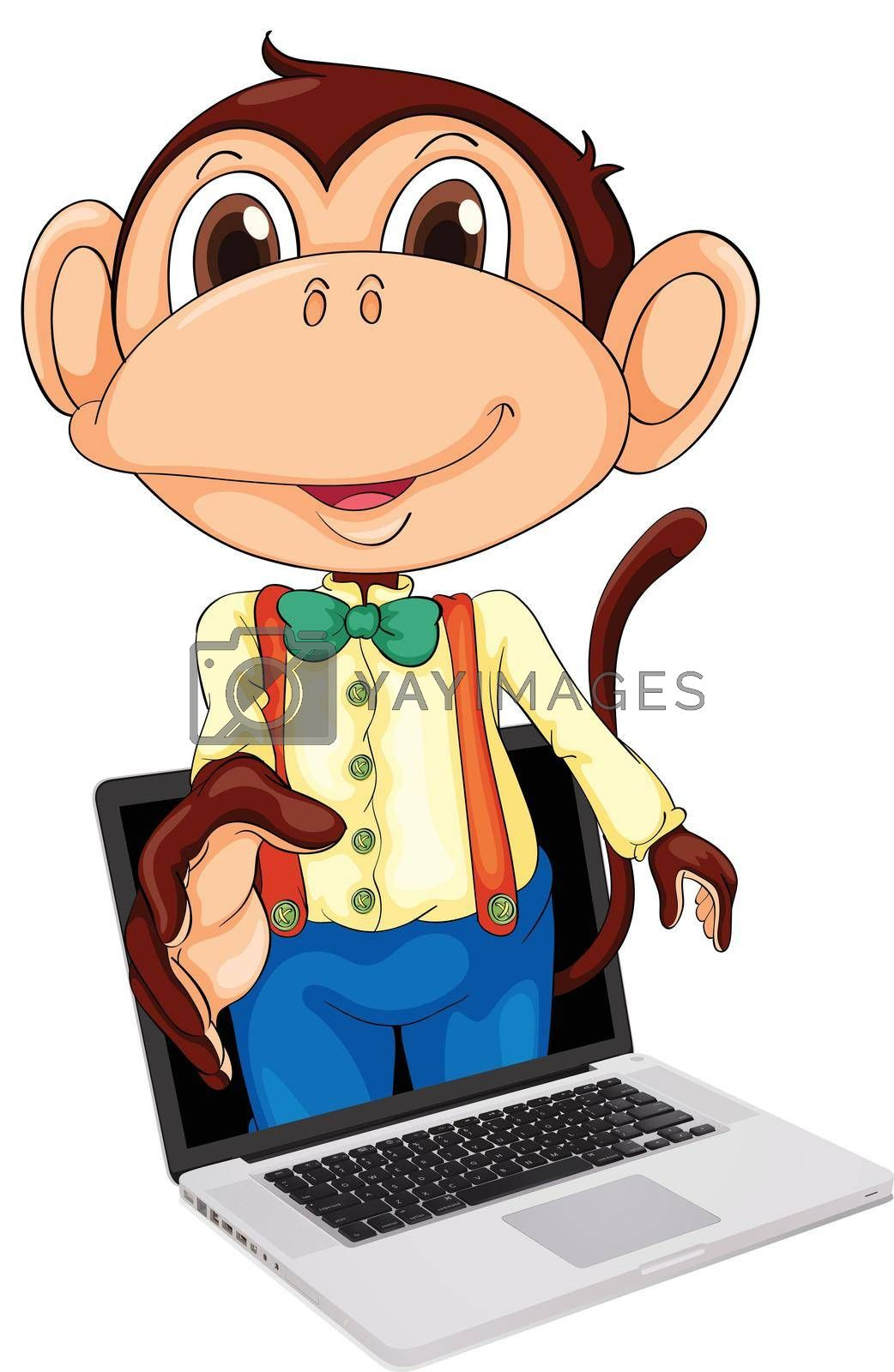 Illustration of a monkey coming out of a notebook