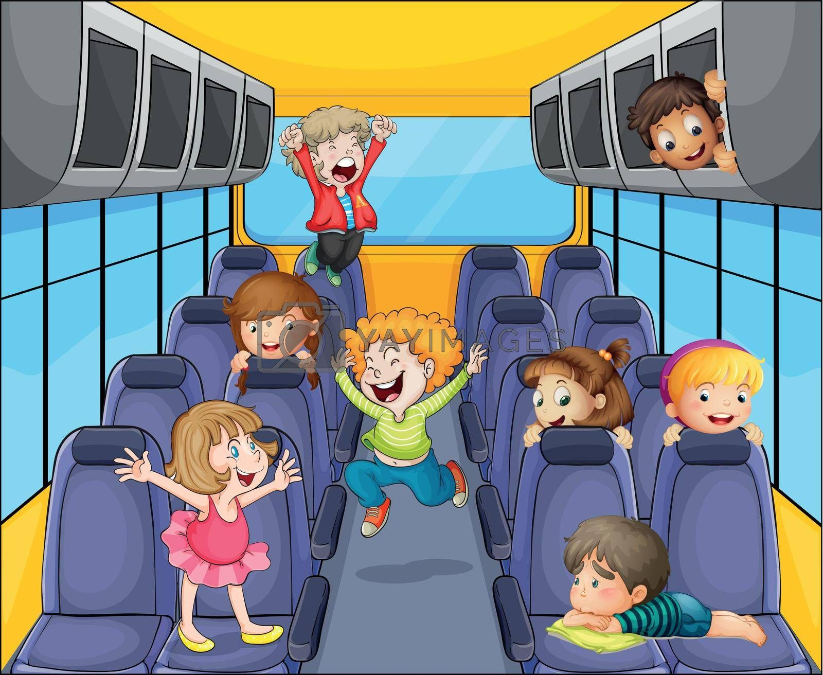 illustration of a happy kids in the bus