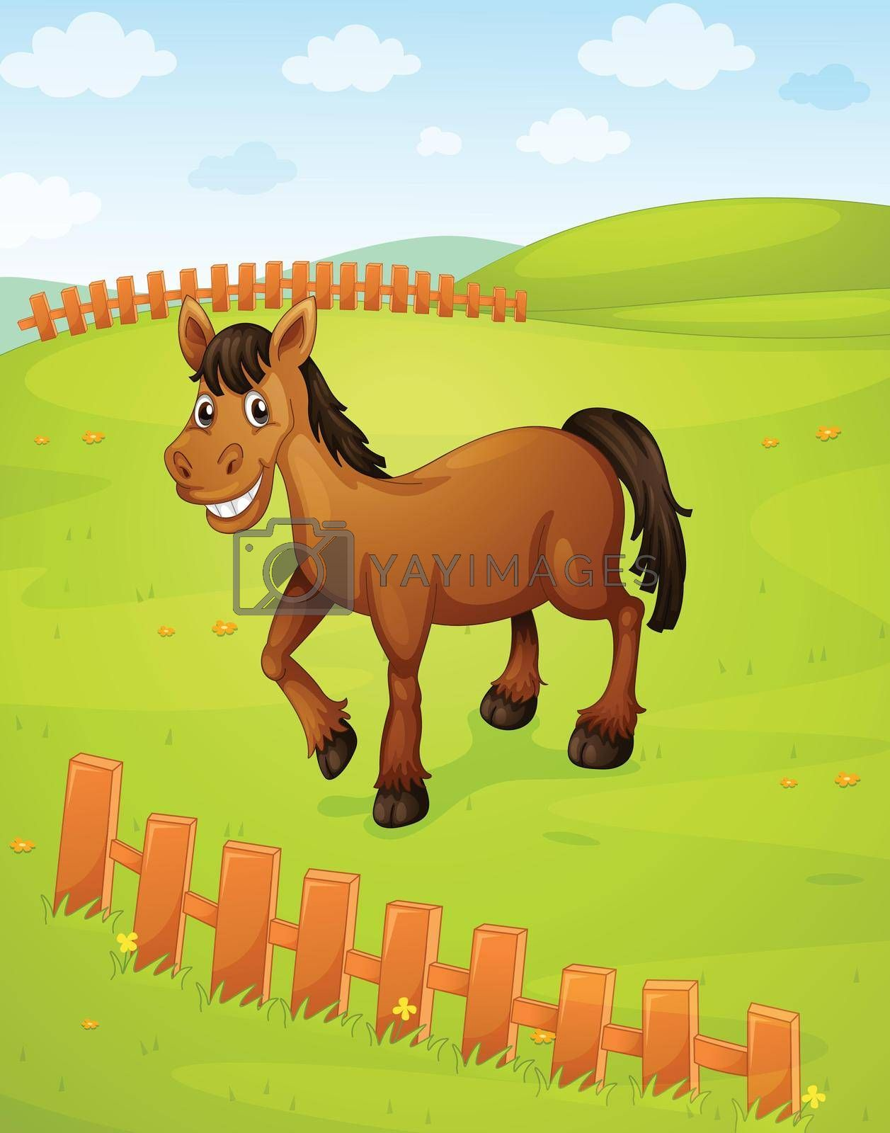 illustration of a horse in a beautiful nature