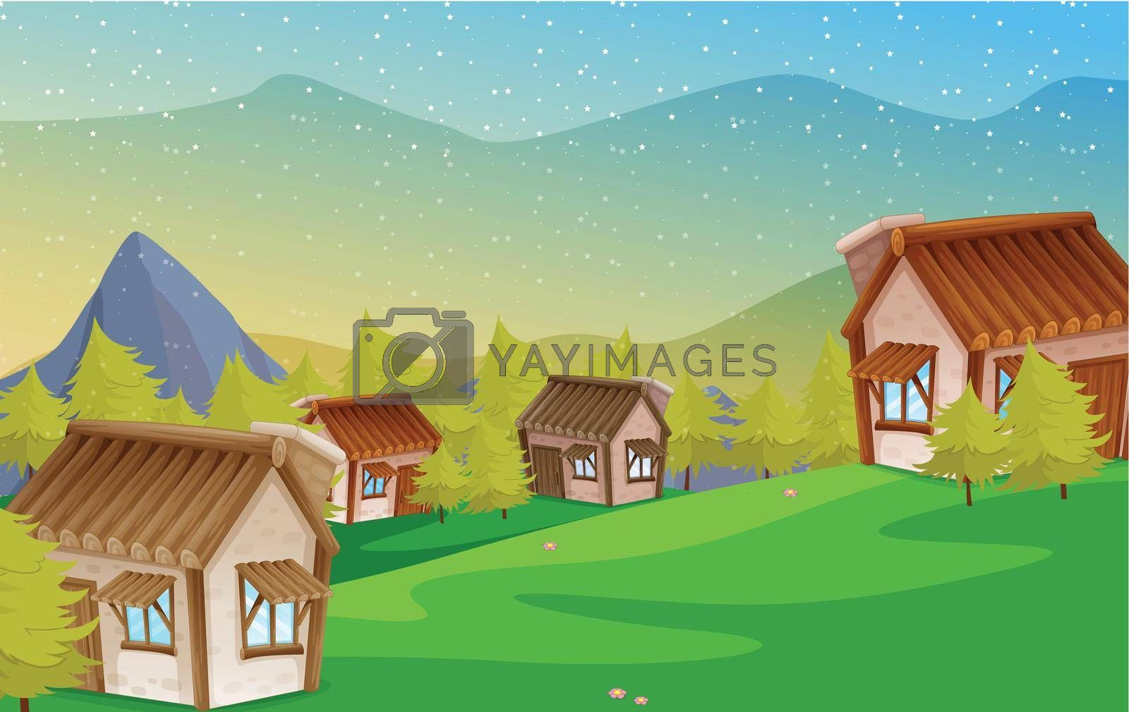 illustration of a colony of houses in nature