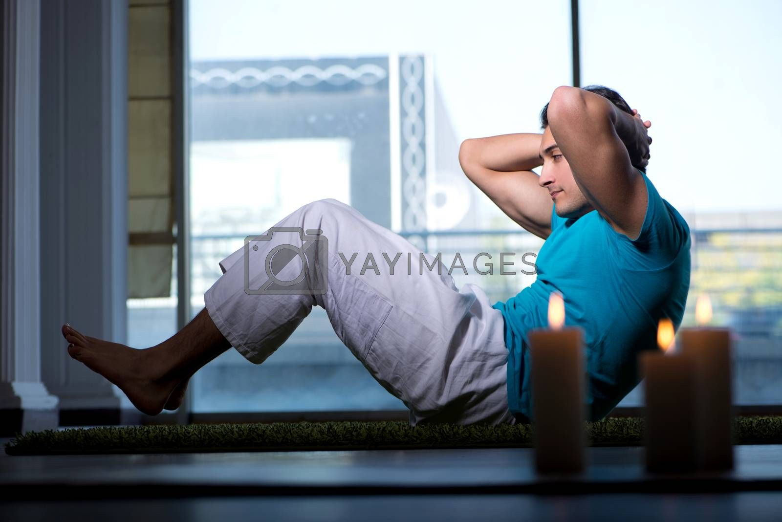 Young handsome man in spa healthcare concept