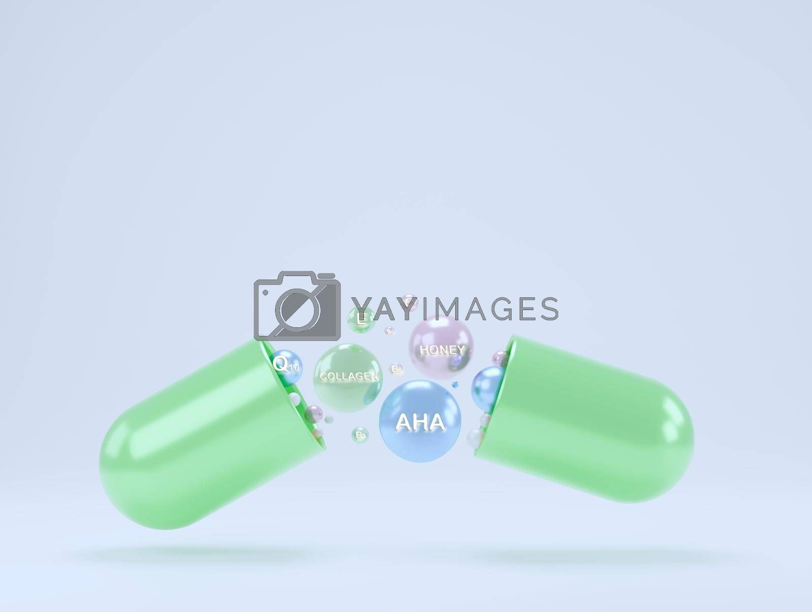 Abstract blue capsule supplement with dispersed particles rich in collagen, vitamin E, and natural extracts. food supplement brand concept white isolated background with copy space 3d rendering.