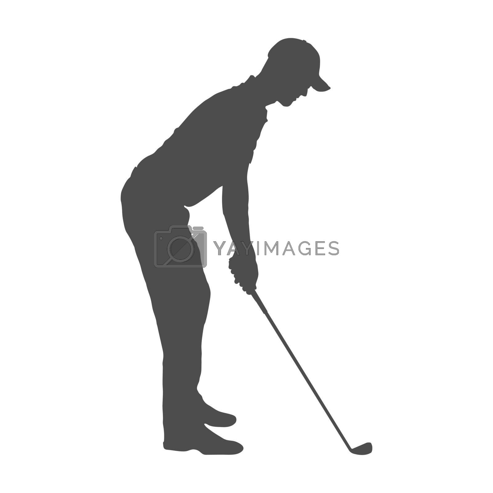 Golf. Solid silhouette of a man, a golfer. Silhouette of a golfer athlete. Flat Style