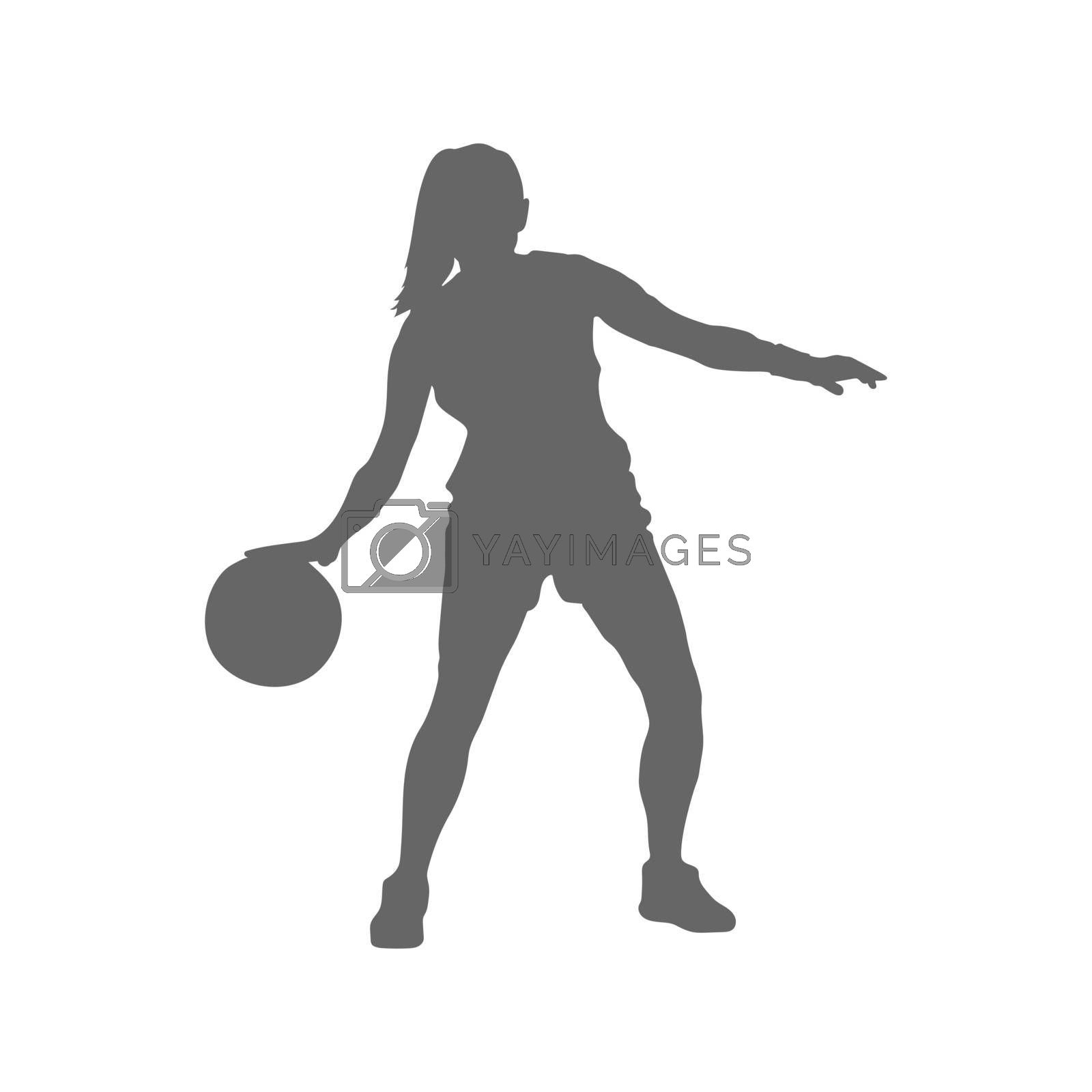 Basketball. Female basketball player with a ball filled silhouette. Simple Style