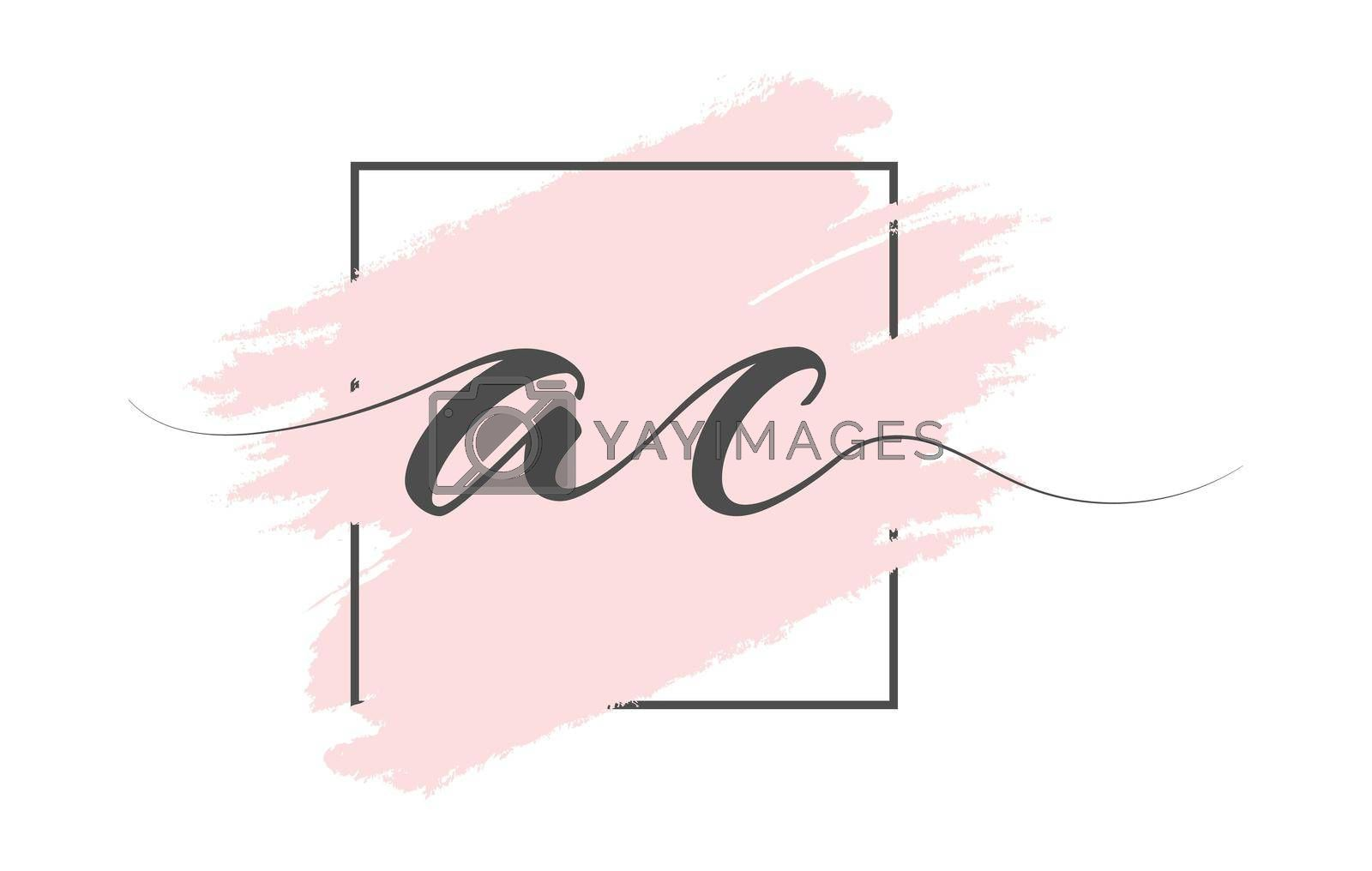 Calligraphic lowercase letters AC on a colored background in a frame. Simple Style