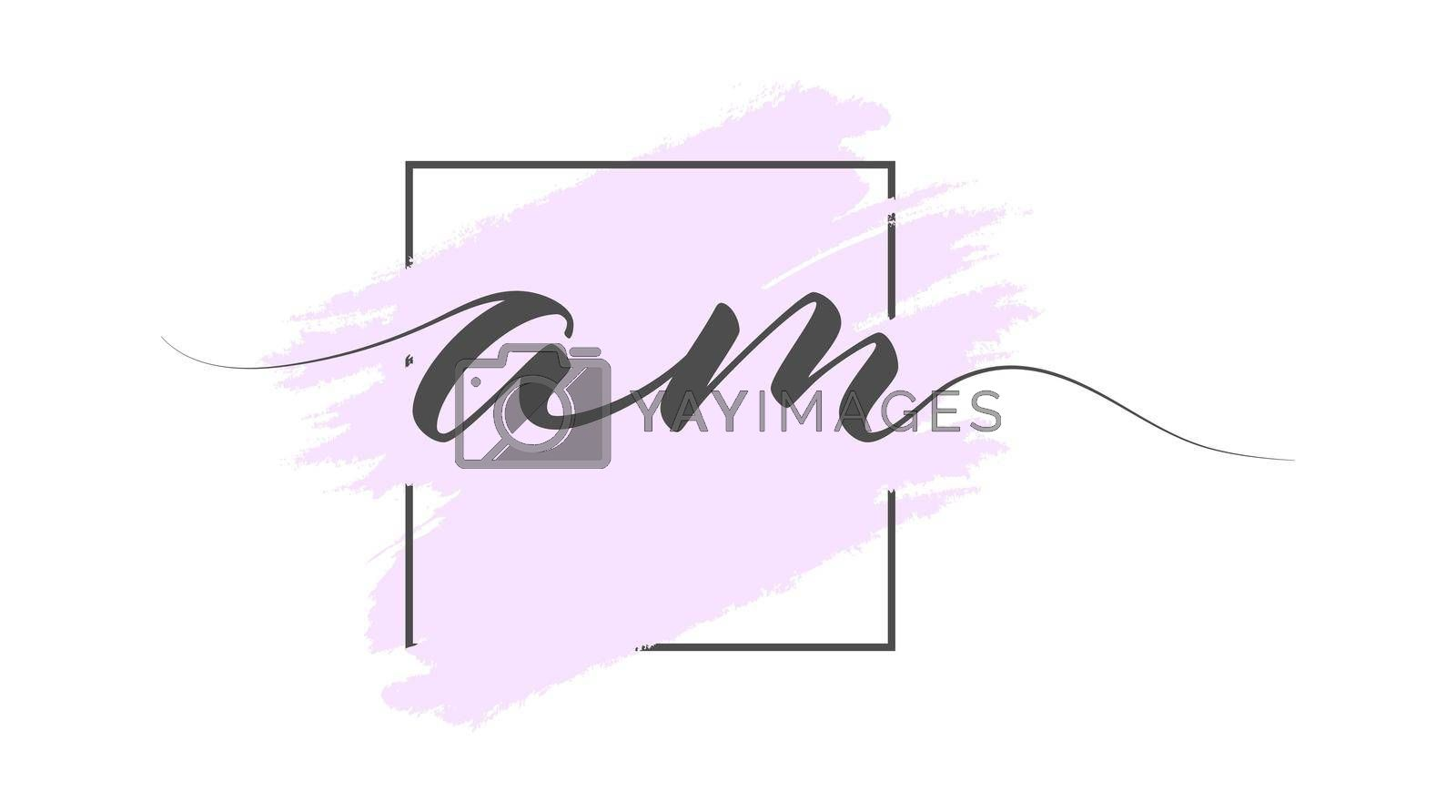 Calligraphic lowercase letters AM on a colored background in a frame. Simple Style