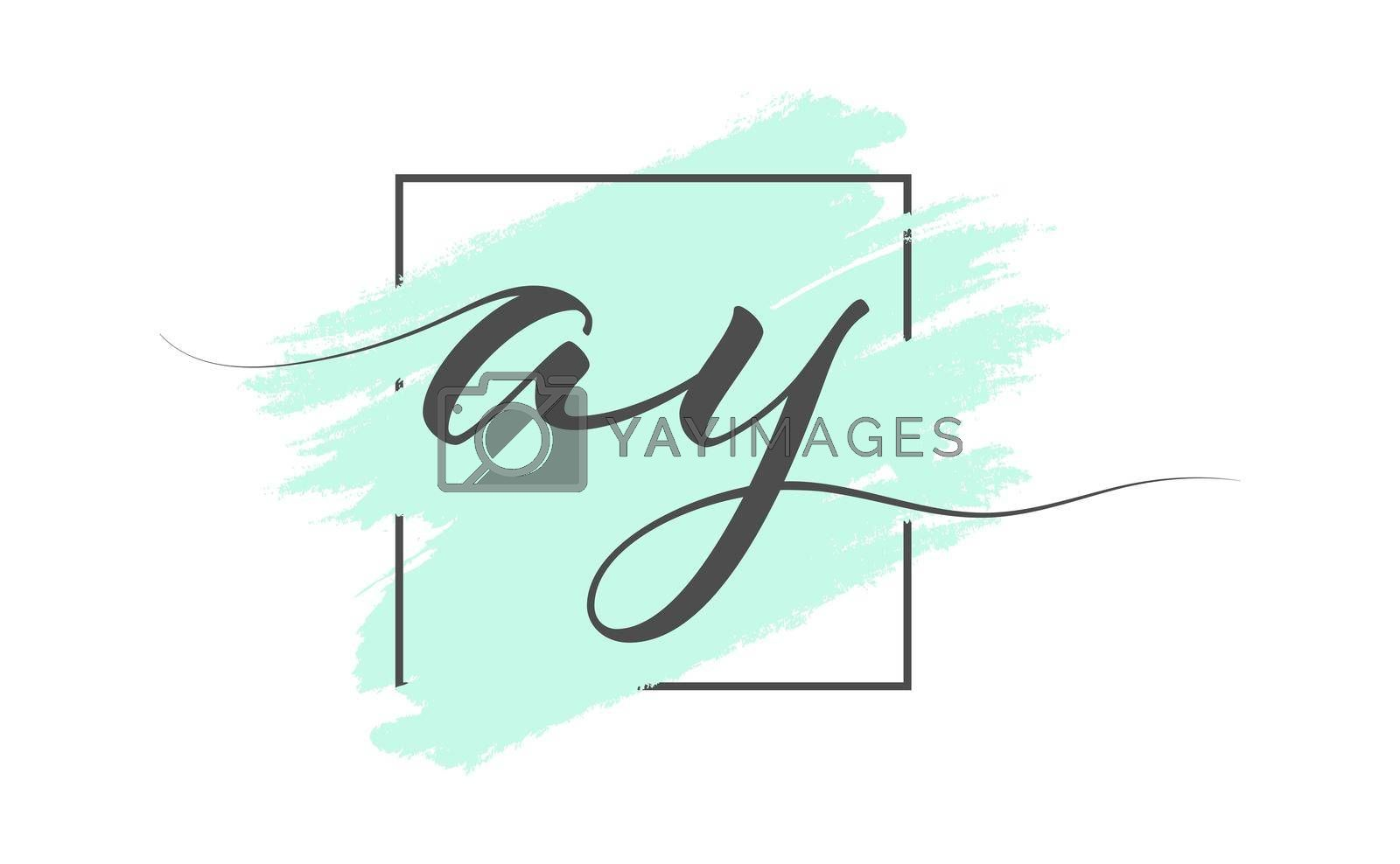 Calligraphic lowercase letters AY on a colored background in a frame. Simple Style