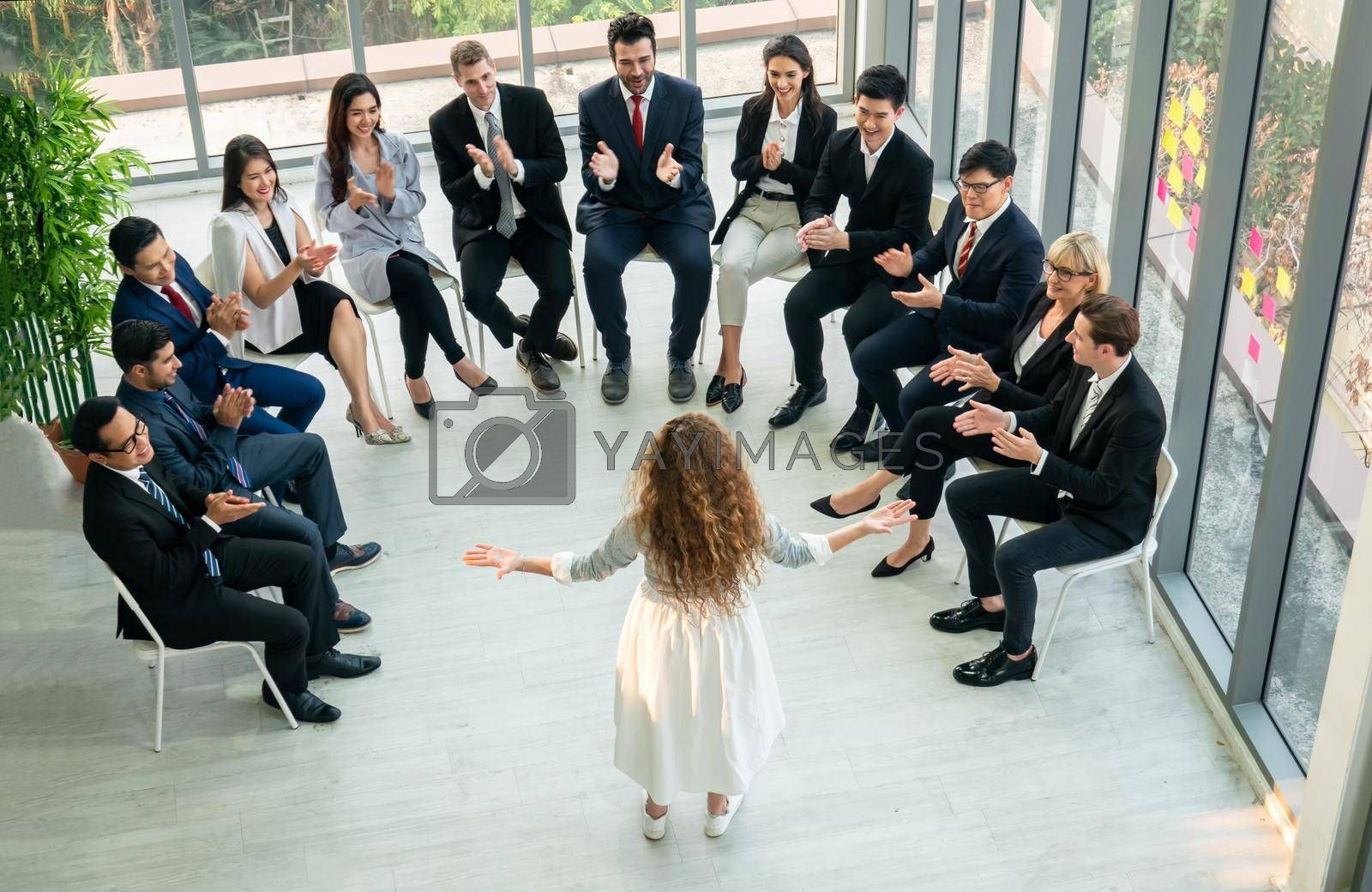 Royalty free image of Shot of a group of businesspeople having a discussion in an office by chuanchai