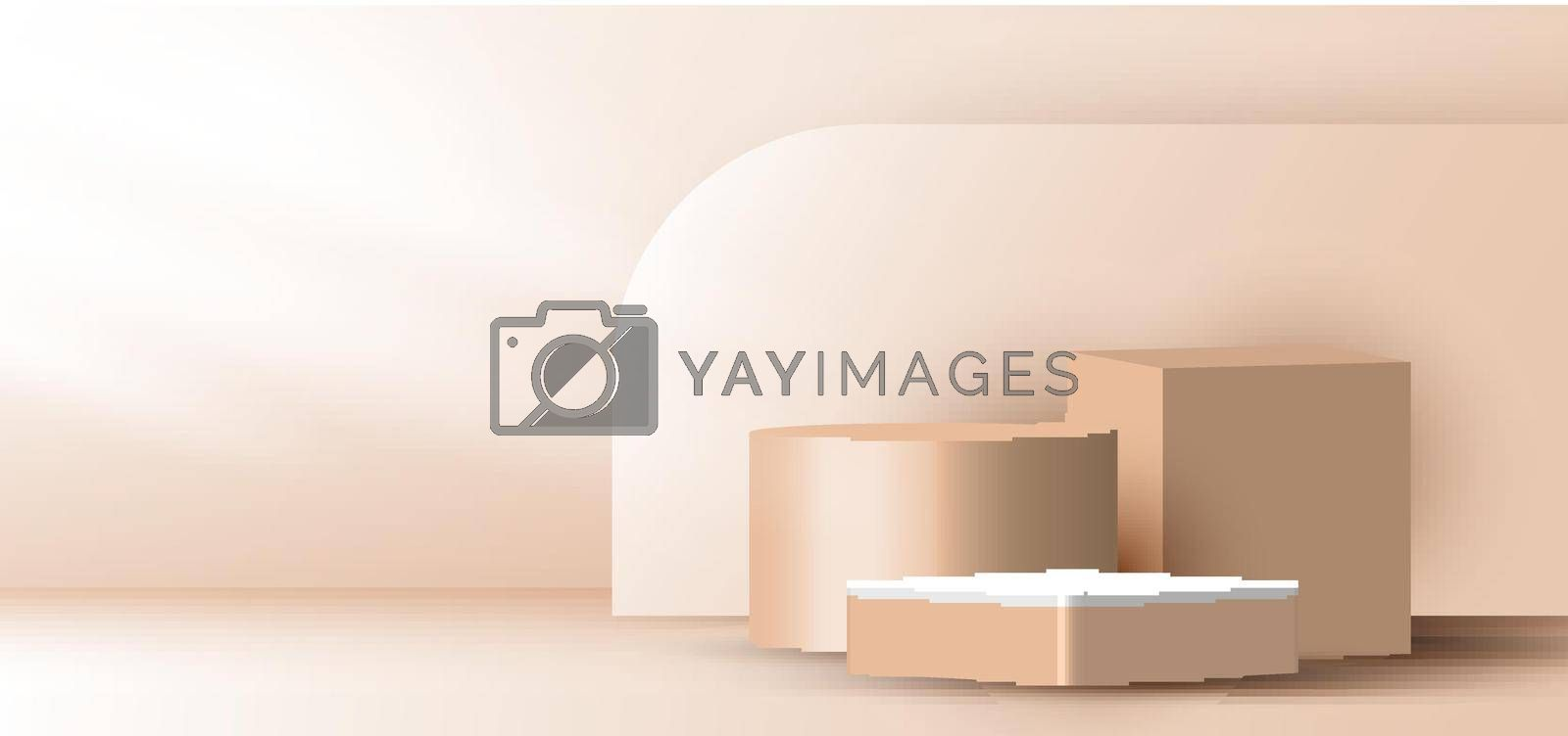 Royalty free image of 3D realistic elegant brown geometric cylinder, cube on layers rounded backdrop on beige background by phochi
