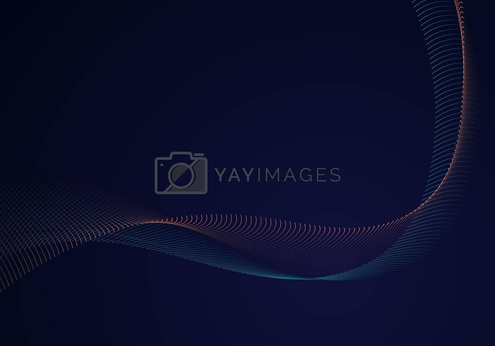 Royalty free image of Abstract modern fluid dots particles wave line on dark blue background by phochi
