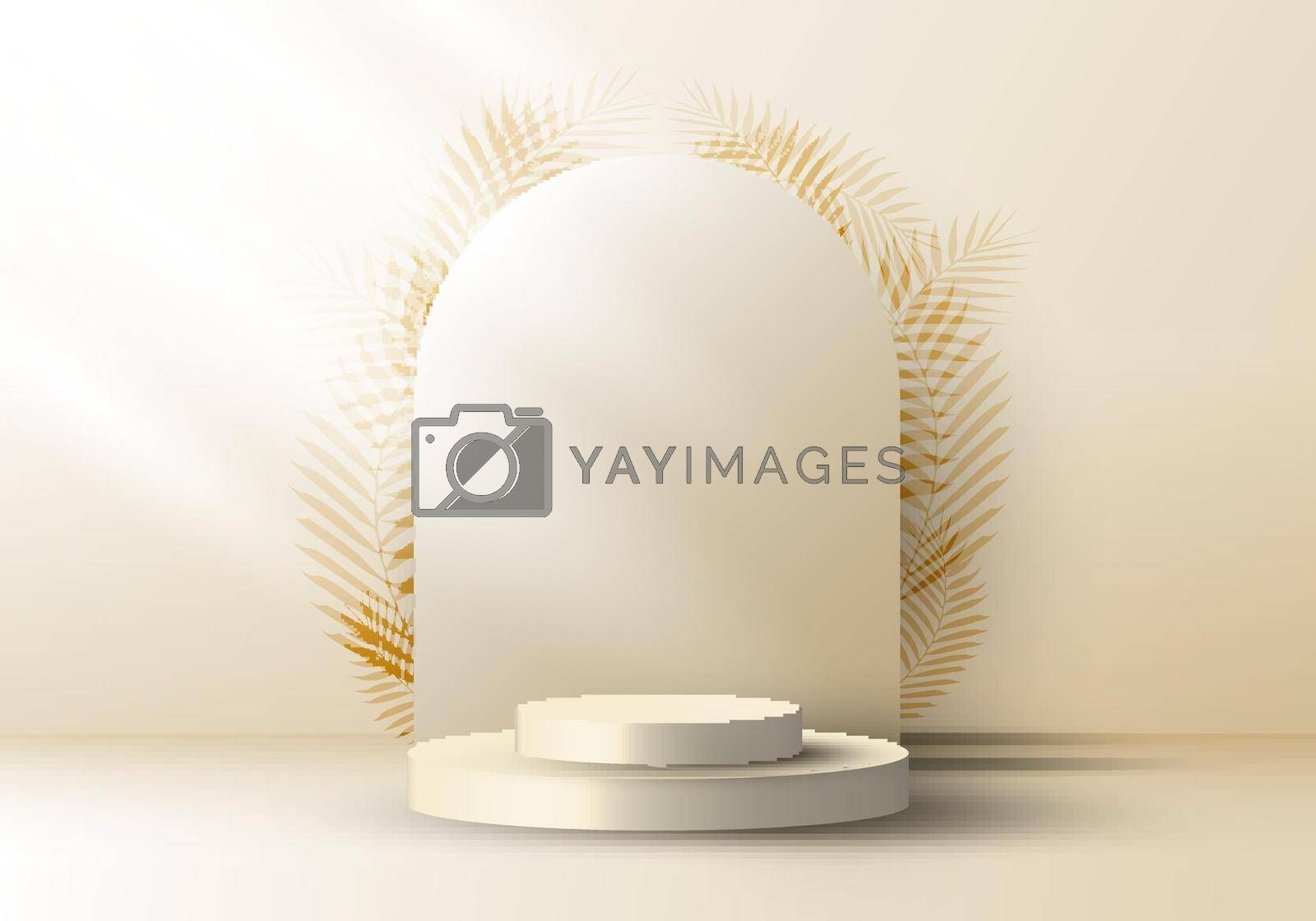 Royalty free image of 3D realistic elegant brown cylinder on layers rounded backdrop with leaves on beige background by phochi