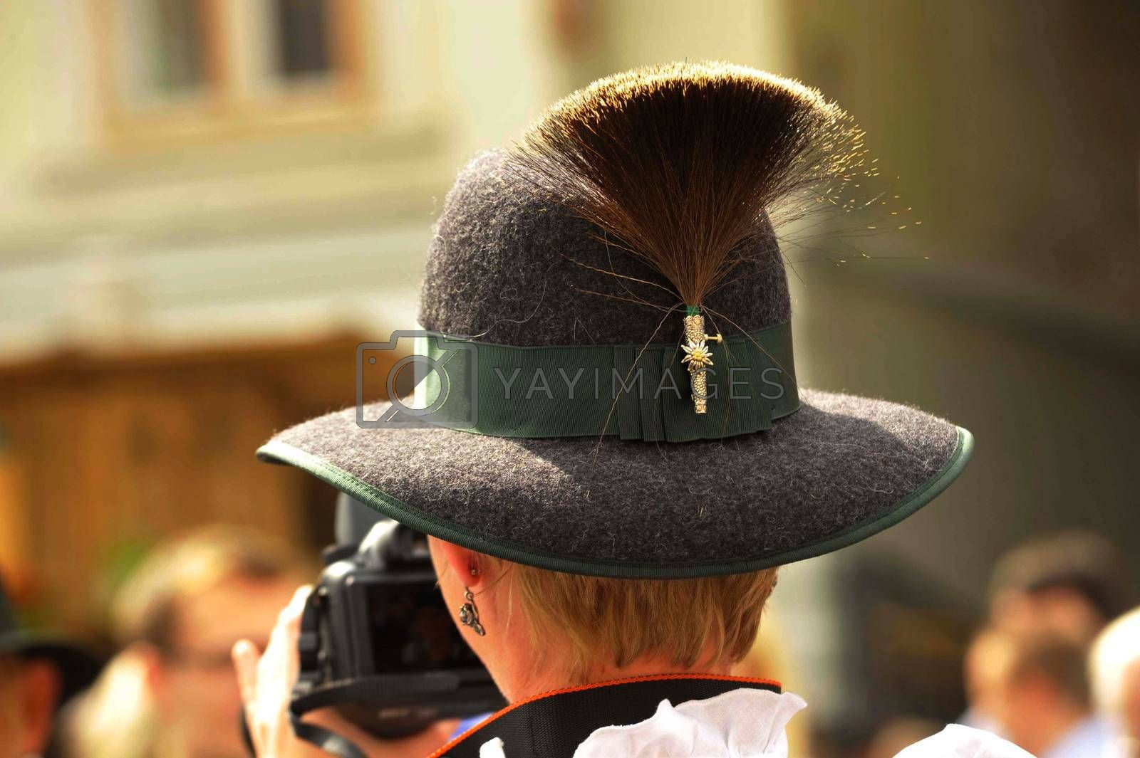 tuft of chamois hair worn as a hat decoration, part of traditional costume