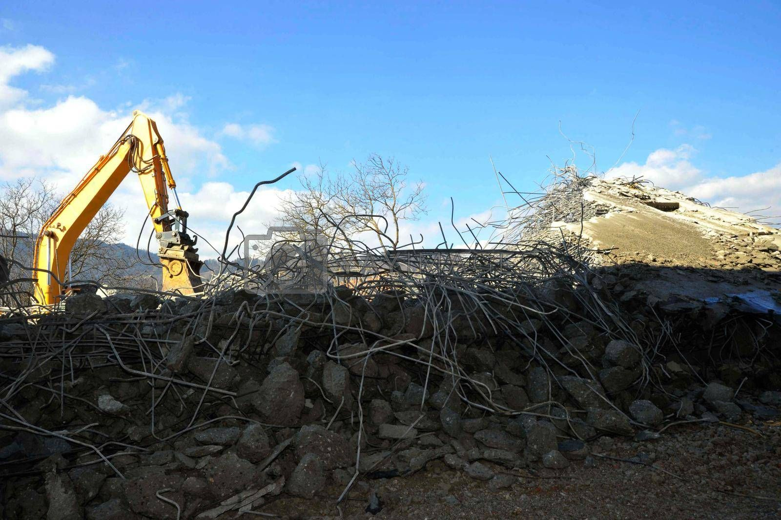 a road demolition or a street demolition in construction industry