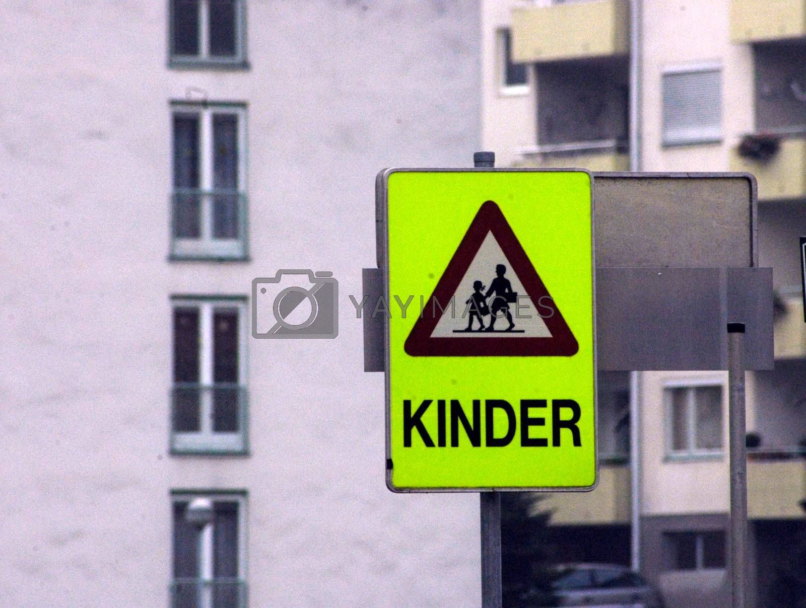 a attention children traffic sign on the way to school