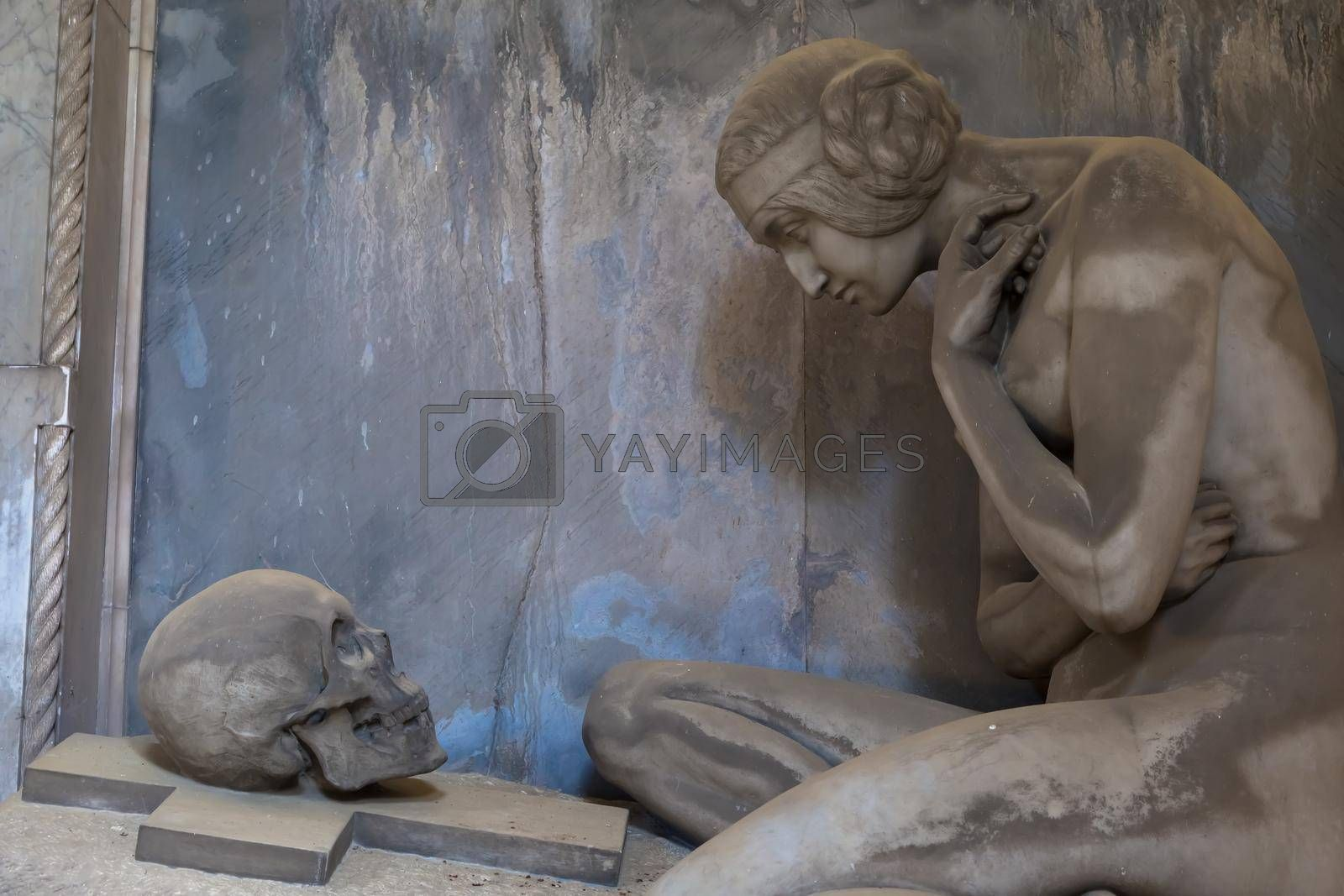 Royalty free image of Statue on an old tomb - beginning of 1800, marble - located in Genoa cemetery, Italy by Perseomedusa