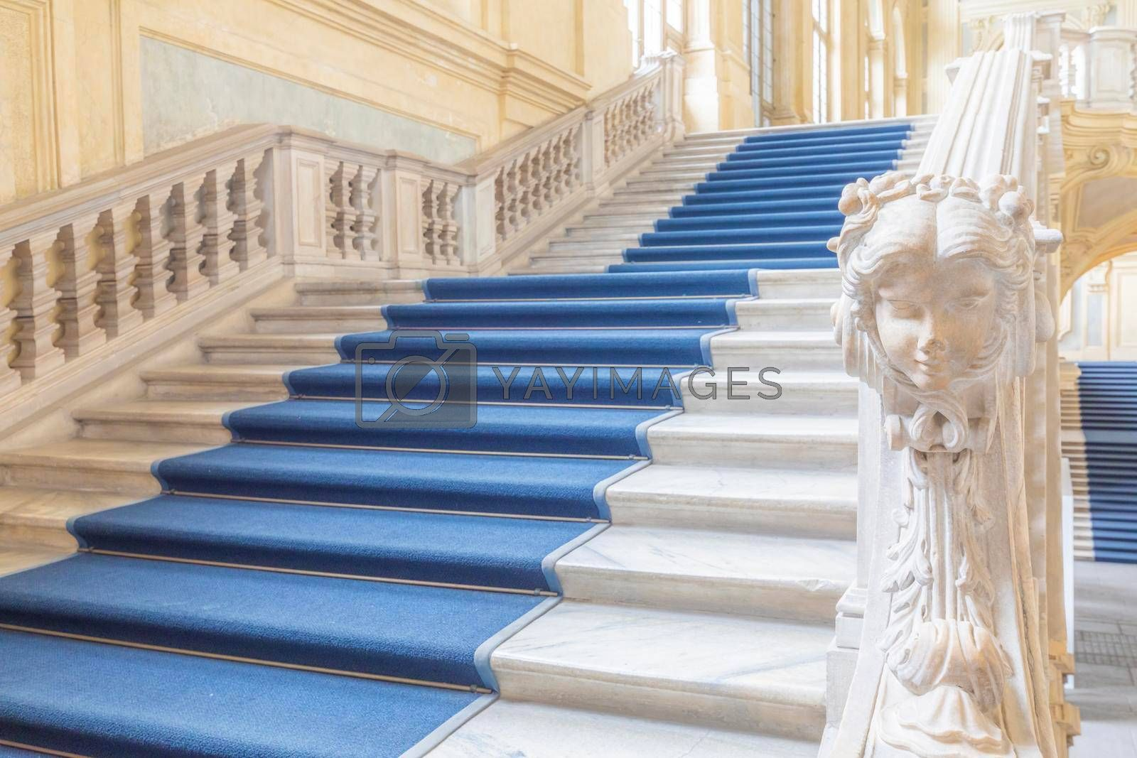 Royalty free image of The most beautiful Baroque staircase of Europe located in Madama Palace (Palazzo Madama), Turin, Italy. Interior with luxury marbles, windows and corridors.  by Perseomedusa