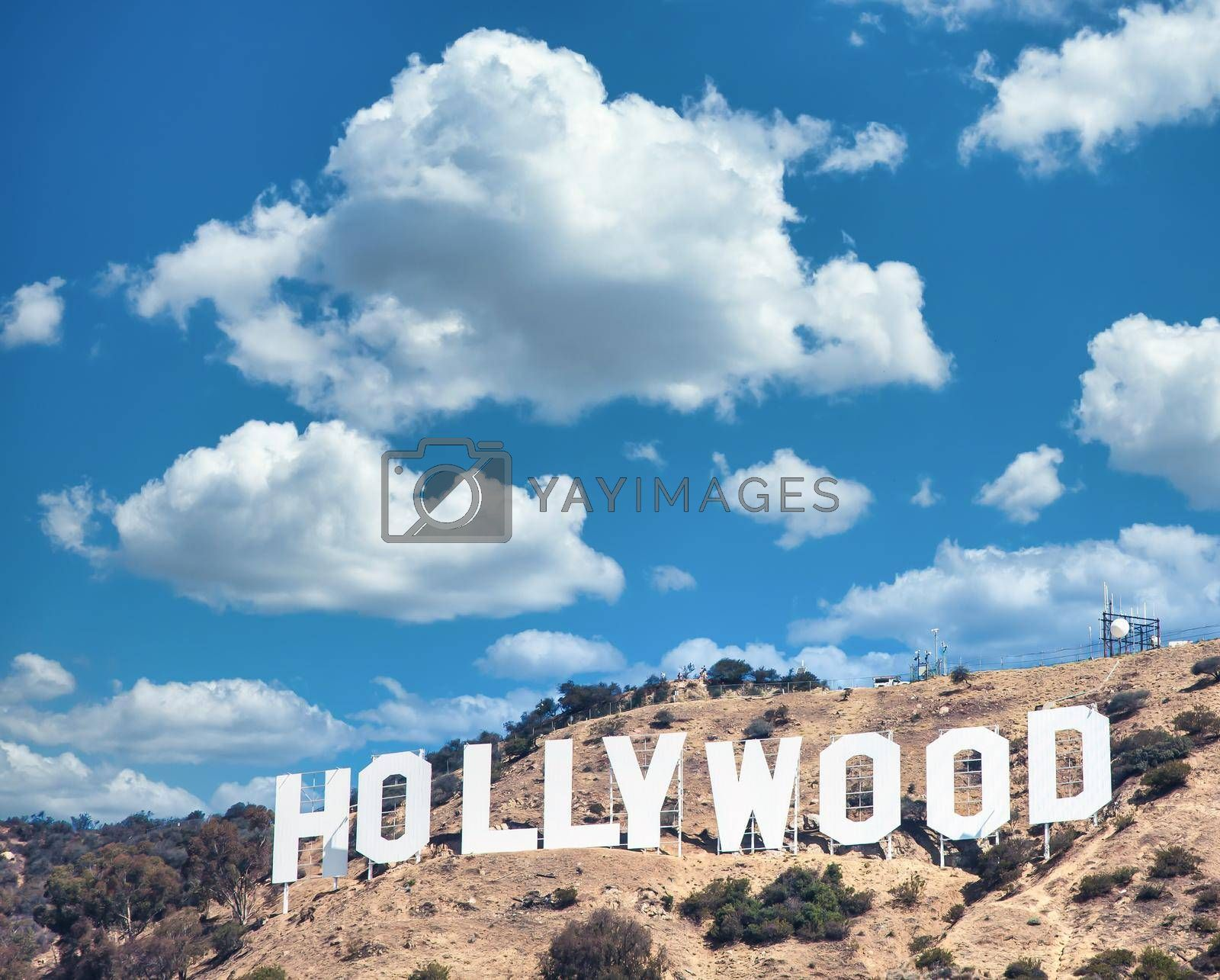 Royalty free image of Hollywood sign in Los Angeles on blue sky by Perseomedusa