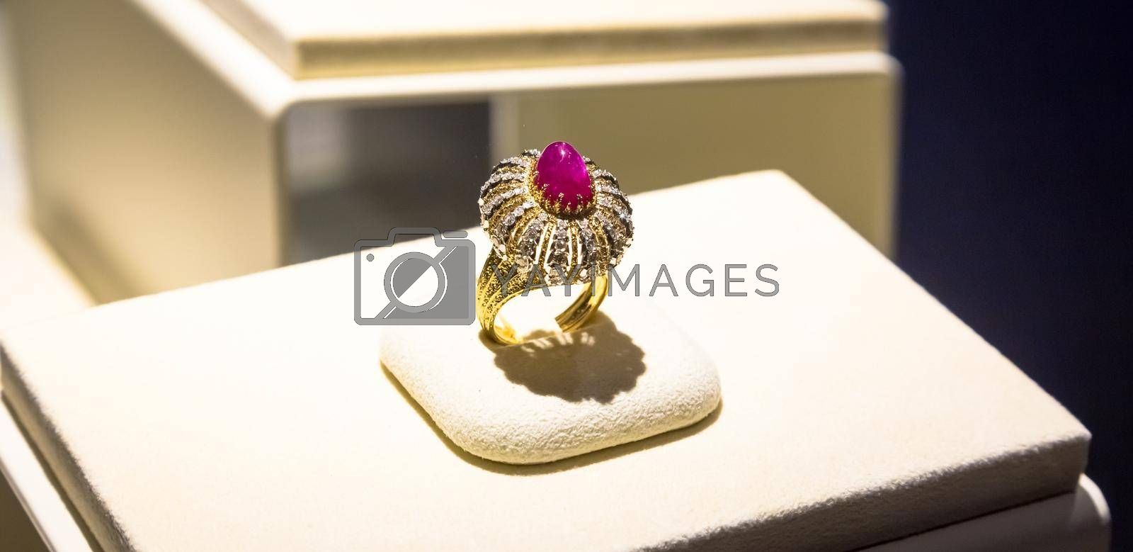 Royalty free image of Luxury ring with giant ruby gem by Perseomedusa