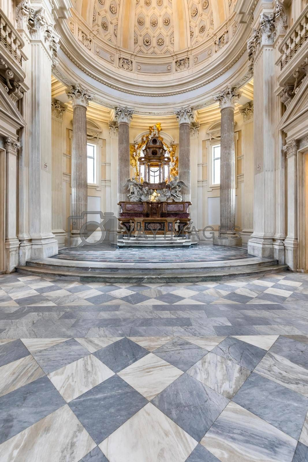 Royalty free image of Sacred catholic altar in Baroque style and cupola. Day light - Italy by Perseomedusa