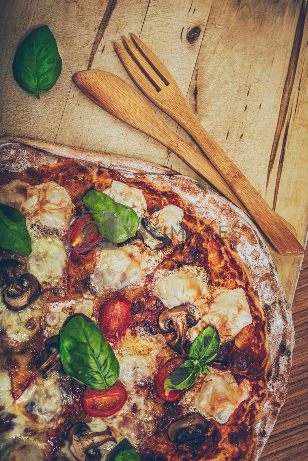Food Background. Tasty Hot Pizza Served with Wooden Utensils. Delicious Fast Food. Traditional Italian Dish.