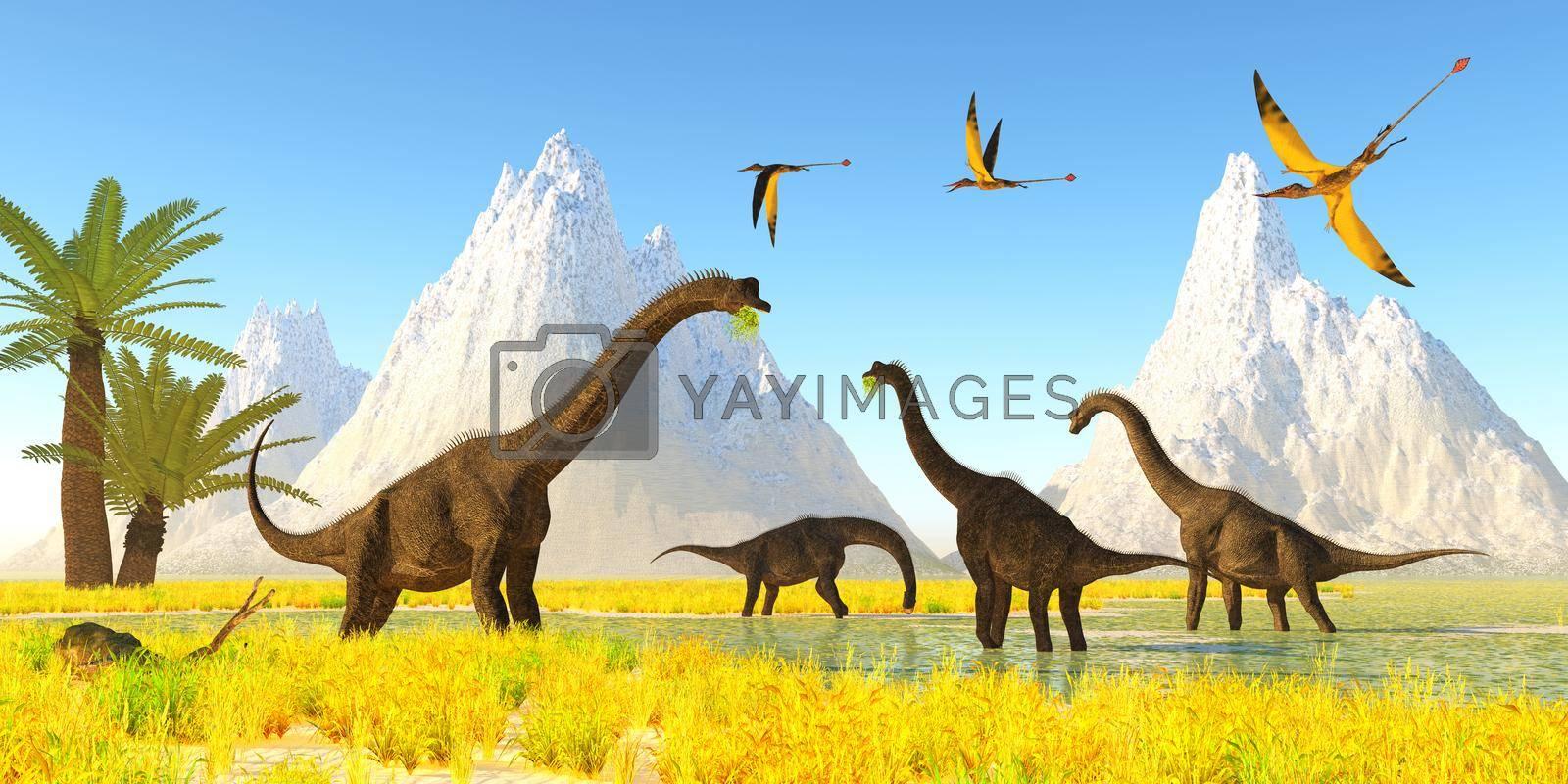 Royalty free image of Brachiosaurus Dinosaur Marsh by Catmando