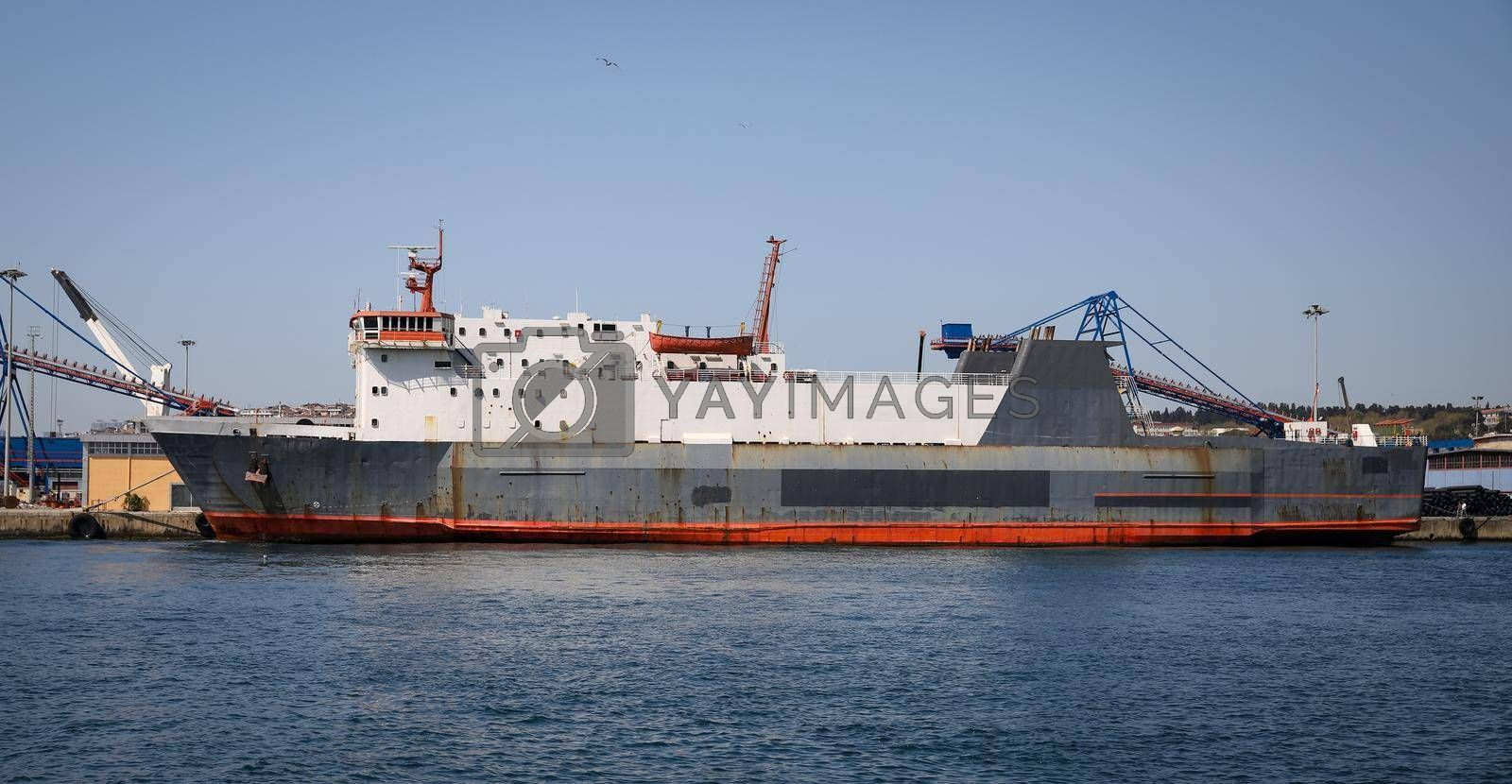 Cargo Ship is Loading in a Port