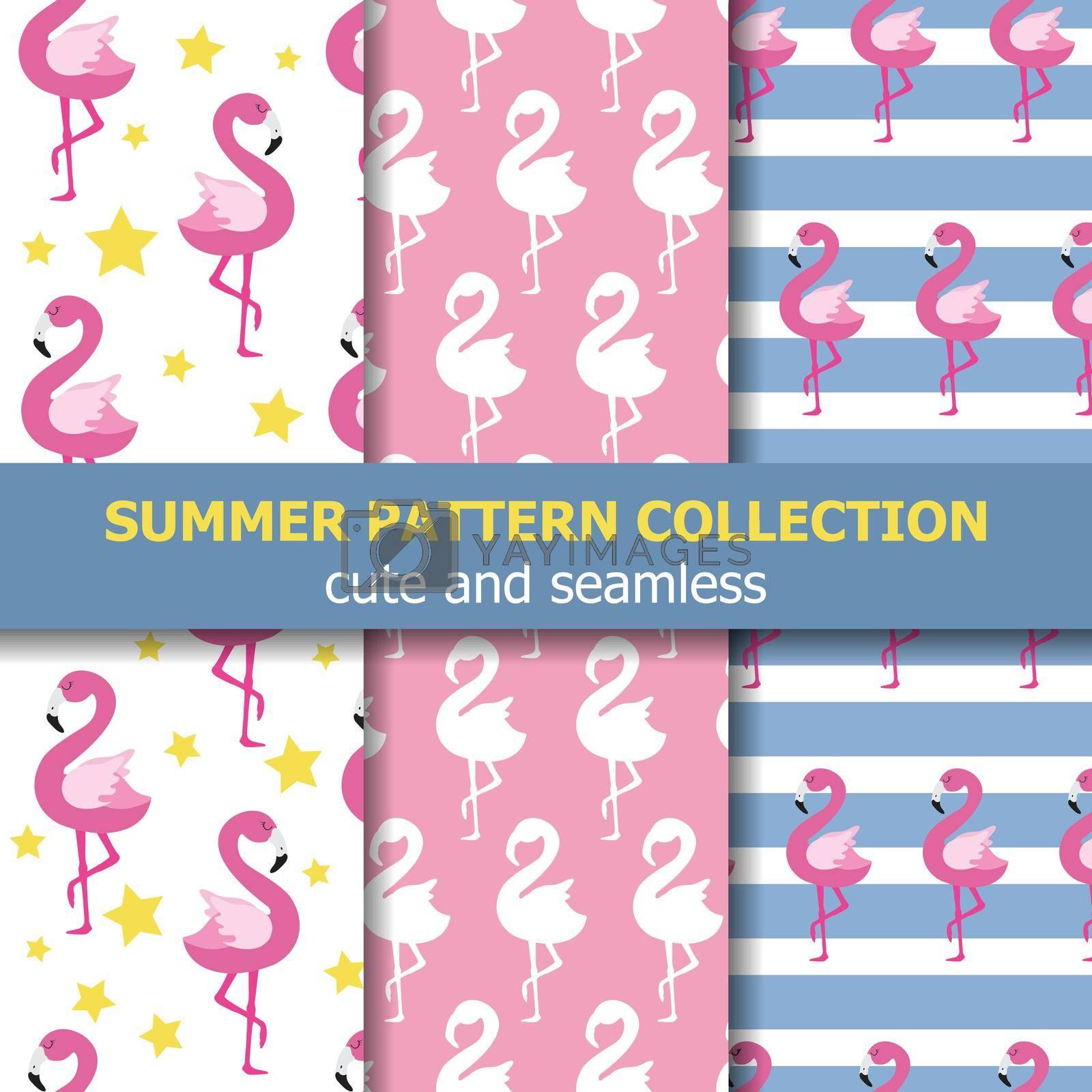 Joyfull summer pattern collection. Flamingo theme, Summer banner. Vector