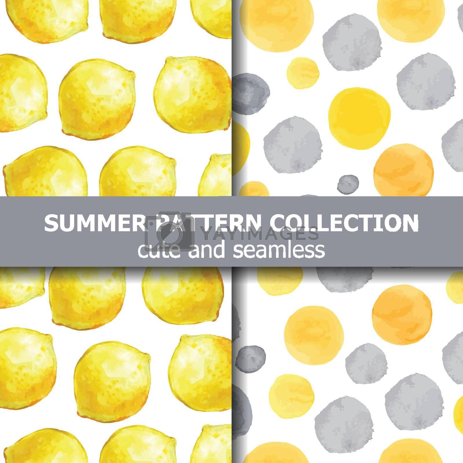 Summer pattern collection with watercolor lemons and dots. Summer banner. Vector